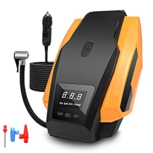 JMFONE Portable Air Compressor 150PSI 12V DC Tire Inflator Pump for Cars, Bikes, Bicycle, Motorcycles and Sport Balls (Yellow) from JMFONE