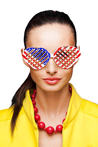 Treasures Gifted Heart Shaped Glasses | USA Flag Patterned Party Favor Sunglasses | (Heart, Pack of 6)
