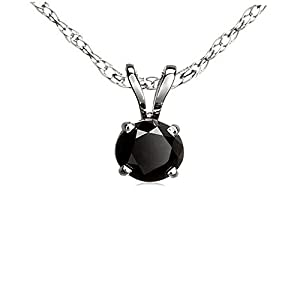 1.00 Carat (ctw) Sterling Silver Round Cut Black Diamond Solitaire Pendant (Chain Included) 1 CT
