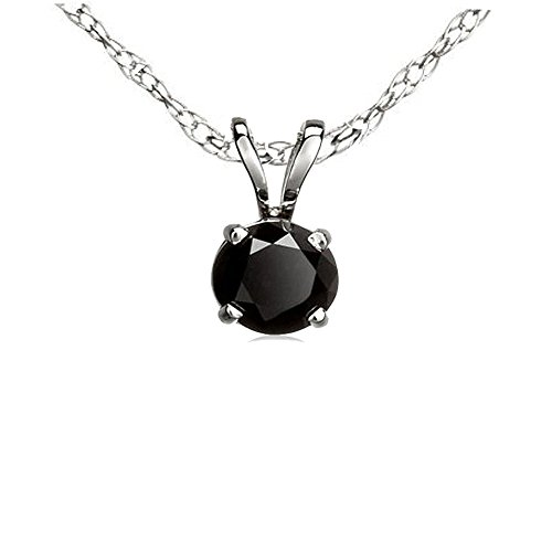 Dazzlingrock Collection 1.00 Carat (ctw) 14K Round Cut Black Diamond Ladies Solitaire Pendant 1 CT, White Gold (Engagement White Necklace)