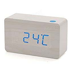 Led Alarm Clock - Led Digital Alarm Clock - LED Wooden Wood Desktop Digital Alarm Clock Night - White (Aaa Alarm Clock)