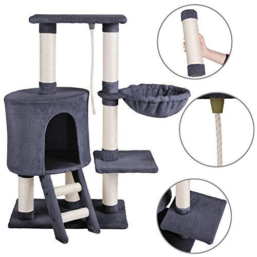 MC Star Kratzbaum Katzenbaum Kletterbaum für Katzen Spielturm mit Plüsch-Hängematte und Spielseil 96 cm
