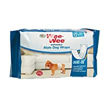 Four Paws 100523613 Wee-Wee Products Disposable Male Dog Wraps (12 Pack), X-Small/Small