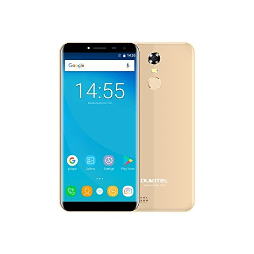 "OUKITEL C8 3G Smartphone 5.5"" 18:9 Ratio Full Vision Android 7.0 Dual SIM 3000mAh battery Quad Core 1.3GHz 2GB RAM 16GB ROM 5MP + 13MP Camera Fingerprint WiFi GPS Bluetooth Cellphone (Gold)"