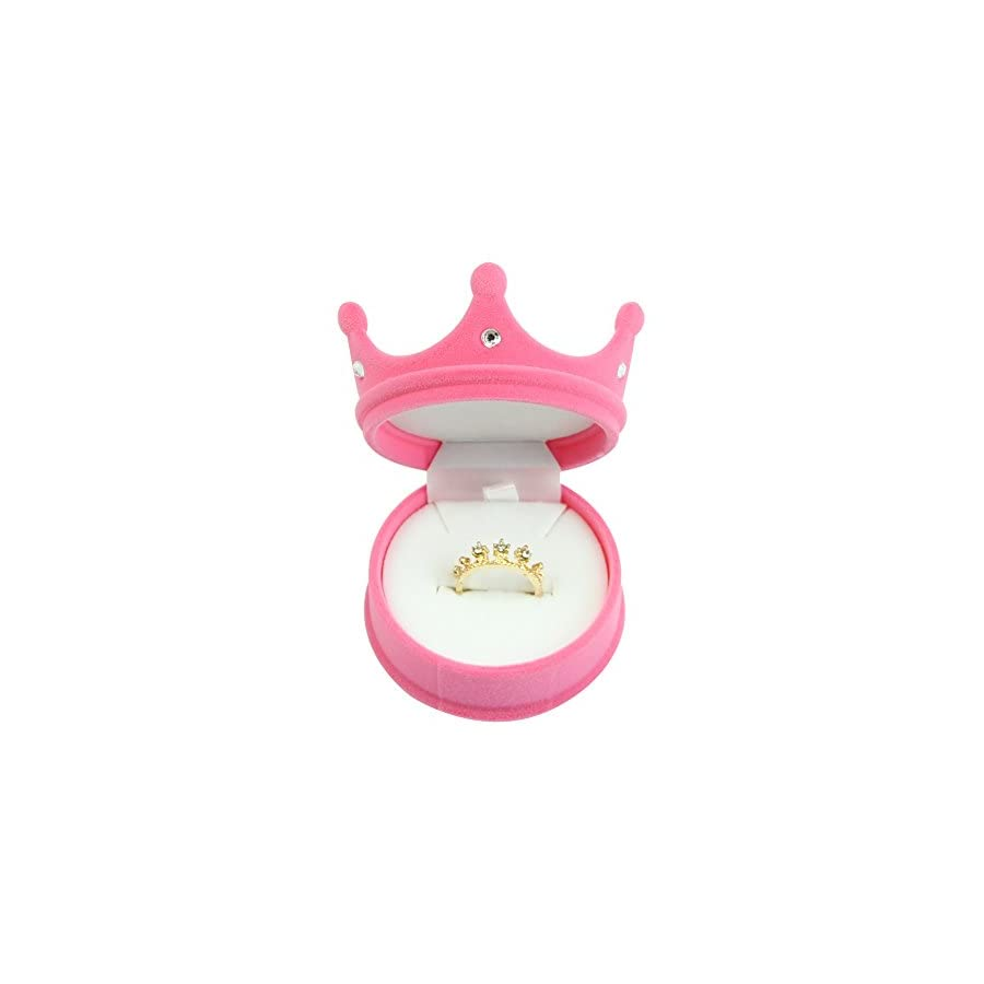 Velvet Ring Earring Jewelry Crown Storage Display Holder Case