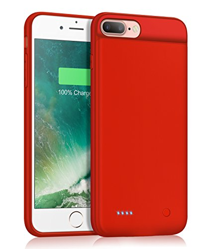 DERONG iPhone 7/8 Plus Charger Case, Ultra Slim Battery Case Rechargeable Extended Battery Pack Protective Backup Charging Case Cover for iPhone 7 Puls/8 Plus 3200mAh (5.5 Inch)-Orange Red