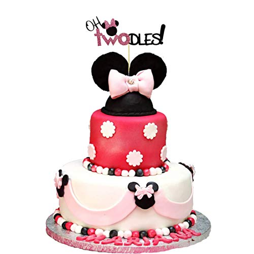 Minnie Mouse Second Birthday Cake Topper,Oh Two Dles Birthday Party Supplies Decorations For Girl(pink)]()