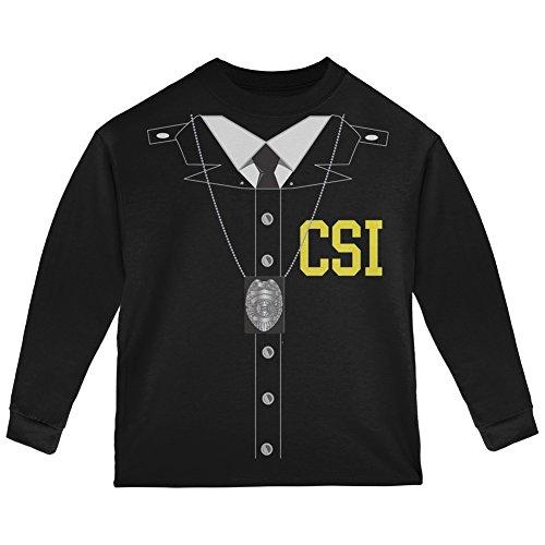 Halloween Crime Scene Investigator Costume Black Toddler Long Sleeve T-Shirt - 4T ()