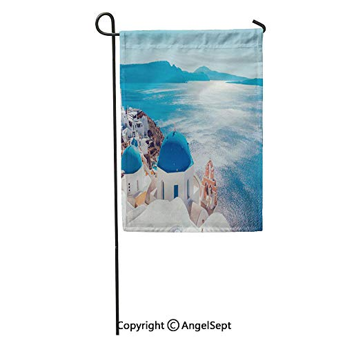 Durable Creative Design 18x27in Garden Flag Blue Destination Santorini Island Greece Red Travel Greek Summer Landmark Home Yard House Decor Outdoor Stand (Best Month To Travel To Santorini Greece)