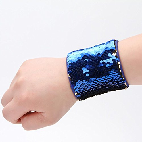 Mermaid Sequin Bracelet, OUBAO New Fashion Latest Custom Personalized Reversible Sequins (Dark Blue)