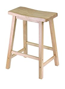Amazon Com Winsome Wood 24 Quot Saddle Seat Stool Nat
