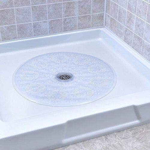 NEW Clear Essential Round Bath Mat Anti-Slip Bathtub Shower Mat Non-Slip with Suction Cups NewPad Eye J8B0