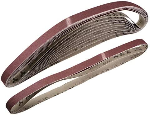 uxcell サンディングベルト25 mm x 1065 mm120グリット アルミニウム酸化物 12個