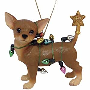 2.5 Inch Chihuahua Tangled in Christmas Lights Tree Ornament