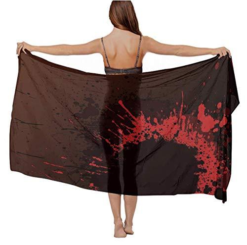 Womens Fashion Sexy Shawls Luxurious Silk Oversized Head Wrap Bathing Suit for Dancing Party Vacasion Beach, Classic Horror Blood Splatter Black Red Summer Paisley Swimsuit Stole]()