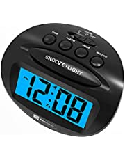 Digital Alarm Clock for Kids, with Blue Backlight, Super Clear LCD Display, 5 Mins Snooze, Simple Operation, Mini Portable, Battery Powered Clock for Bedroom Students, Black