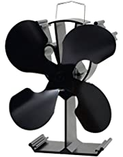 4-Blade Heat Powered Stove Fan for Wood/Log Burner/Fireplace - Eco Friendly(Black)