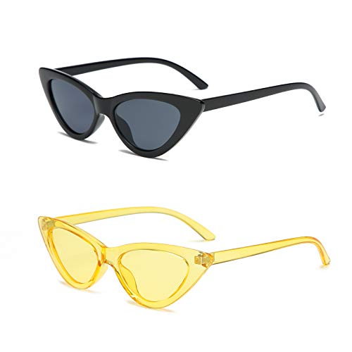 YOSHYA Retro Vintage Narrow Cat Eye Sunglasses for Women Clout Goggles Plastic Frame (Black Grey + Clear Yellow/Yellow)