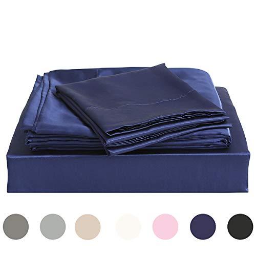Homiest King Sheet Set Navy Blue Satin Bedding Sheets Set, 4pc King Bed Sheet Set with Deep Pockets Fitted Sheet