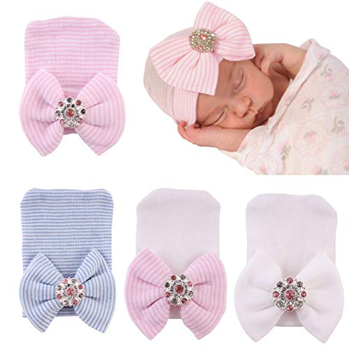 (Upeilxd Newborn Hospital Hat Infant Baby Hat Caps with Bow Soft Cute Nursery Beanie Hat (4pack Rhinestone Bow / 0-3 Month))