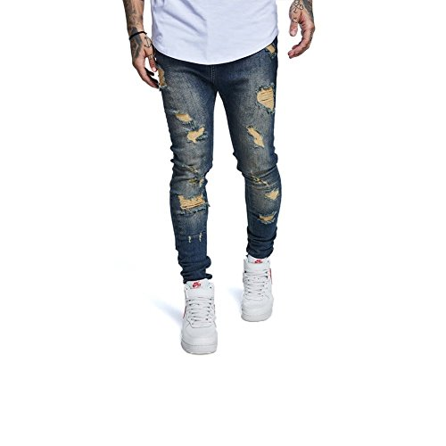 Sik Skimshred Dark Silk Crotch Jeans Blue Drop – rYxr6wtq