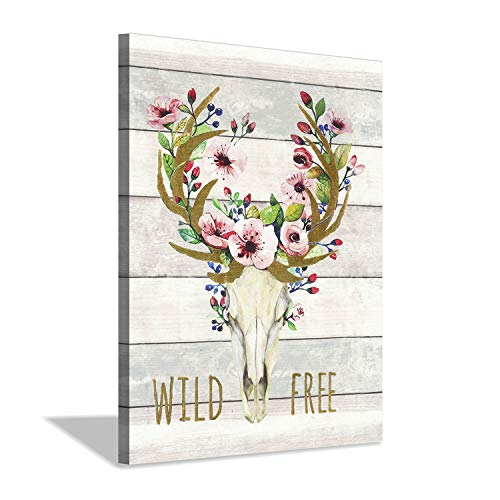 (Deer Skull Canvas Wall Art: Dear Head Flowers Artwork on Wood Texture Graphic Artwork for Dining Room(24''x18''))