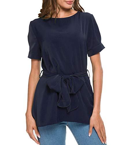 Mingriya Womens Belted Top Spring Fashion Blouses Formal Shirts for Work (XX-Large, Navy ()
