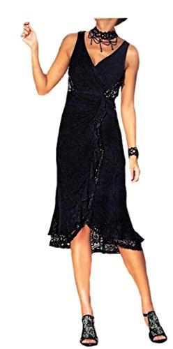 Perlen schwarz m Schwarz Kleid Cocktail Kleid Heine Spitzen Abend Kleid vgwq4408
