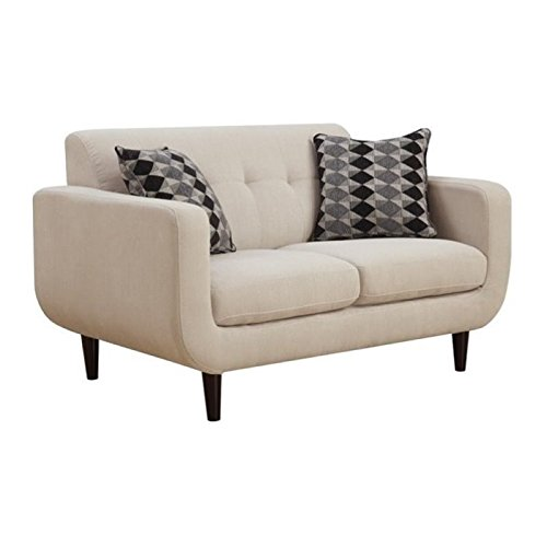 Bowery Hill Modern Loveseat in Ivory