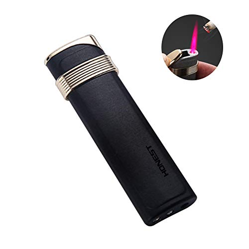 (Single Torch Jet Flame Lighter Cigarette Lighter Windproof Cigar Refillable Butane Gas Torch Lighter, No Gas)