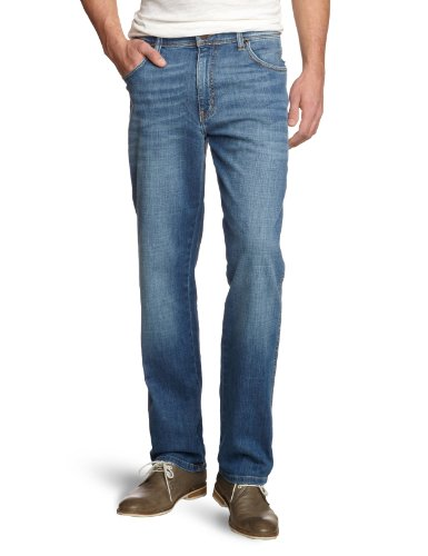37x Texas worn Jeans Broke Uomo Worn Broke Stretch Wrangler Blu zwndHqI