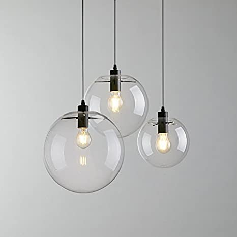 E27 industriales transparente cristal Globe negro SHADE ...