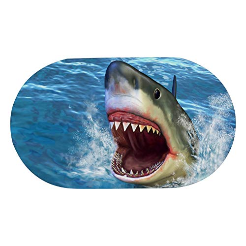ENEVOTX Oval Bath Mat Pad PVC Hotel Bath Mat with Suction Cup Great White Shark Jumping Out of Water with Its Op Non Slip Bath Mats for Bathroom for Baby Elderly Kids 27x16 Inch (A Shark Jumping Out Of The Water)
