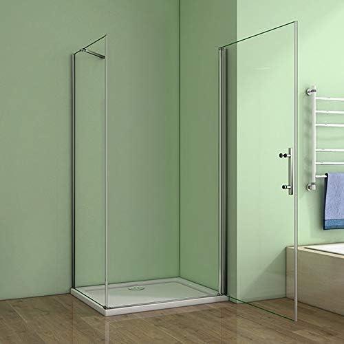Aica 80x80cm box doccia angolare cabina doccia apertura battente cristallo temperato trasparente anticalcare alto 195cm lato fisso