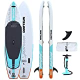 Driftsun Spearhead Rigid Stand Up Inflatable Paddleboard 11ft SUP, with Paddle, Fin, Leash and Carry Bag