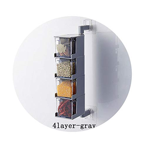 Vintage Clear Acrylic - Vintage Clear Acrylic Rotatable Kitchen Spice Storage Container Rack Wall Plastic Spice Jar,4 Gray