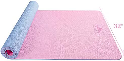 "Hatha yoga Large TPE Yoga Mat - 72""x 32"" x 1/4 inch -Eco Friendly SGS Certified -Non Slip Bolster with Carrying Bag for Home Gym, Pilates & Floor Outdoor Exercises"