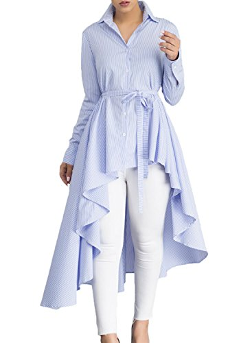 Dokotoo Womens Ladies Elegant High Low Long Sleeve V Neck Stripe Tunics...