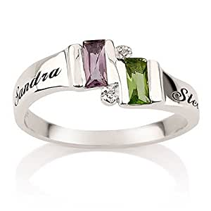 Engraved Ring Sterling Silver Birthstone Ring Heart Ring With Swarovski Stones Couples Ring Split Band Ring (5)