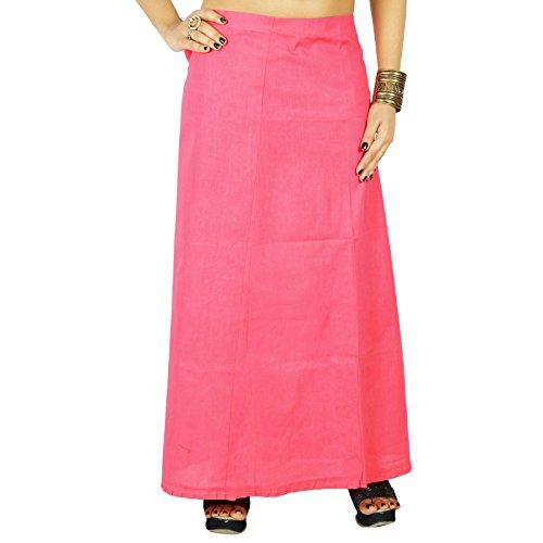 Sólido Bollywood algodón cosido Inskirt india de la enagua de la guarnición Para Sari Rosado
