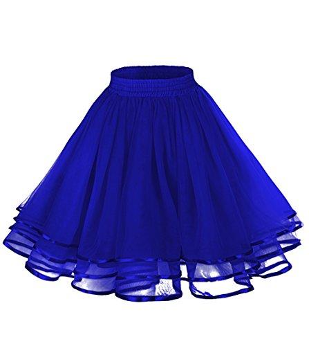 LaceLady Women's Vintage Petticoat Tutu Underskirt Crinoline Dance Slip with Belt (Small, Royal -