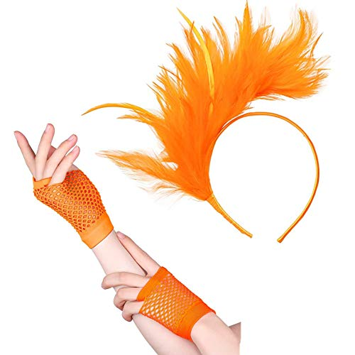 80's Fascinator Feathers Headband Fingerless Fishnet Gloves for Party Costume Orange ()