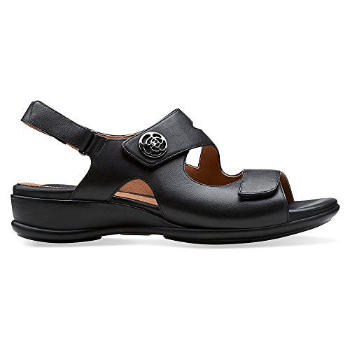 Clarks Tiffani Aldora Womens Black Leather Sandal 12-NARROW jIfdkplPha