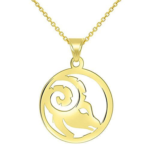 14k Yellow Gold Dainty Round Aries Zodiac Sign Cut-Out Ram Head Pendant Necklace, 18