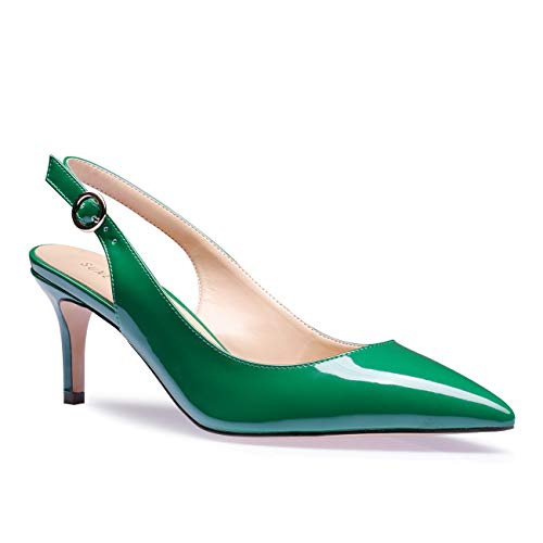 SUNETEDANCE Women's Slingback Pumps Pointed Toe Kitten Heels Sandals Slip On Stiletto Mid Heels Shoes, Patent Leather Green, US11 B(M) US