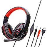 Gaming Headset Stereo with Mic Noise Cancelling Headphones Bass Surround - 3.5Mm Wired LED Lights - Soft Memory Earmuffs for Ps4 Xbox One Mobile - Red