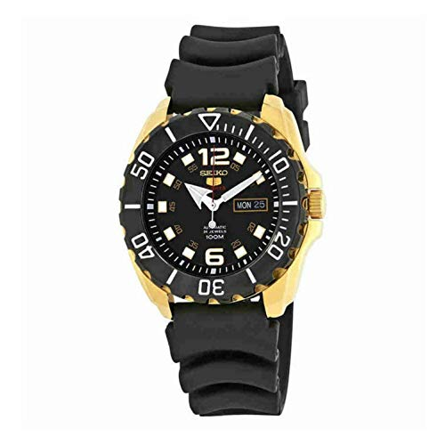 SEIKO 5 'Baby Monster' 100M Automatic Watch Gold Tone Rubber Strap - Seiko Black Monster Automatic