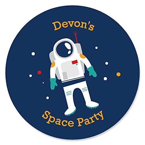 Personalized Blast Off to Outer Space - Custom Rocket Ship Baby Shower or Birthday Party Favor Circle Sticker Labels - Custom Text - 24 Count
