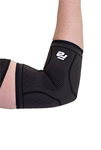 Fit Active Sports Compression Elbow Sleeve Support Brace For Tennis, Golfers, Tendonitis Treatment, Weightlifting, Bursitis, Workouts, Gym, Recovery, Pain Relief. Wear Anywhere