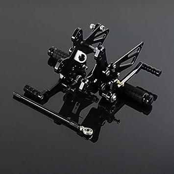 JFG RACING Rear Foot Pegs Motorcycle Rearsets CNC Adjustable Footrest For Kawasaki ZX10R ZX-10R 2011 2012 2013 2014 2015 2016(Black)